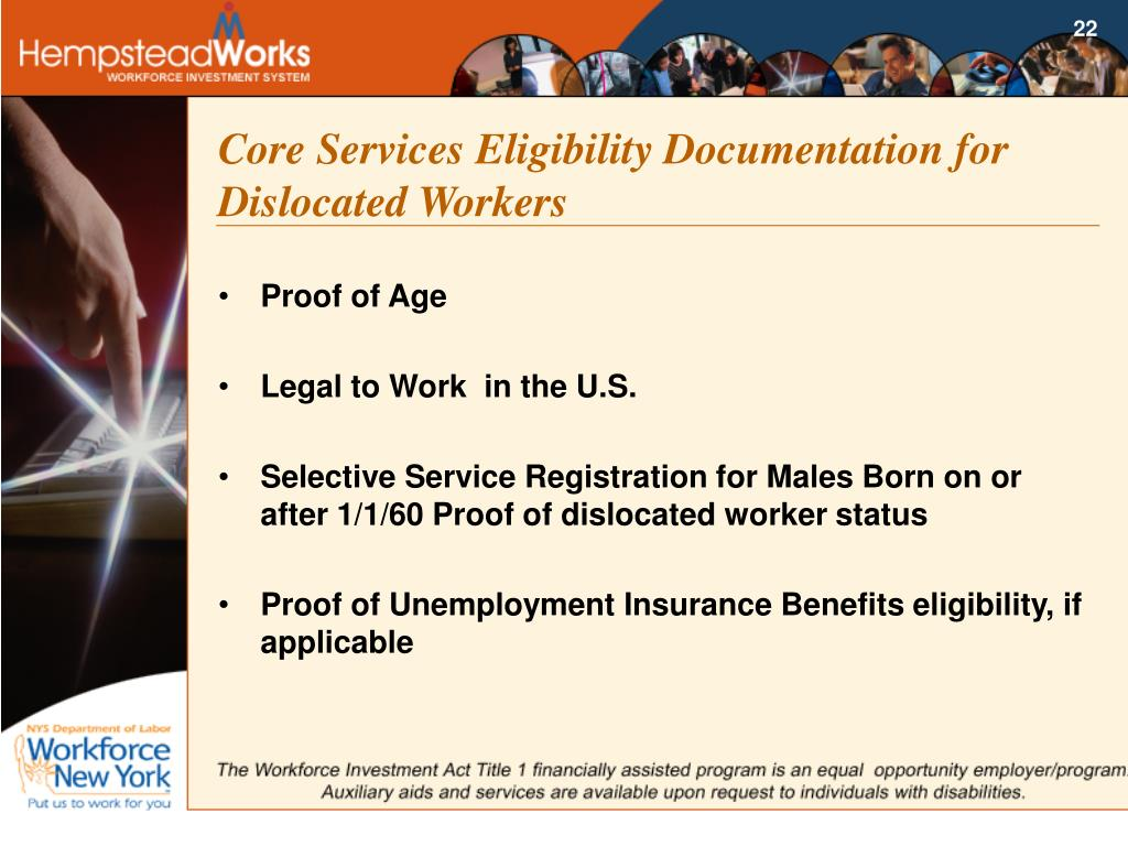 Core Services Eligibility Documentation for Dislocated Workers