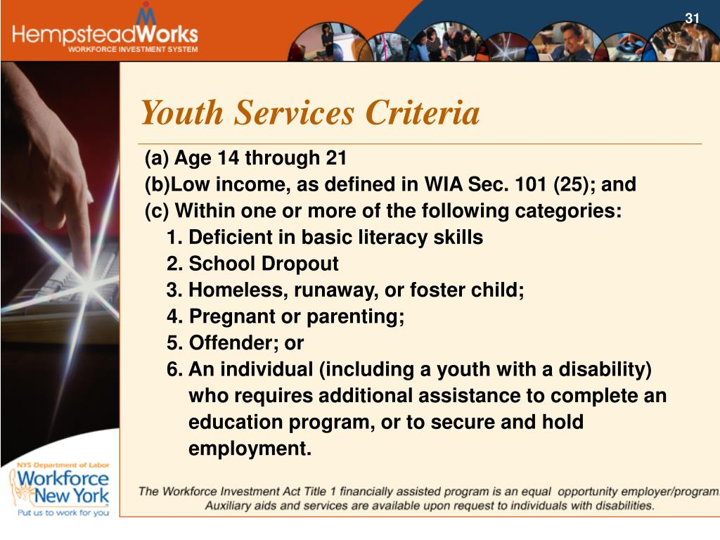 Youth Services Criteria