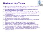 review of key terms