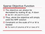 sparse objective function