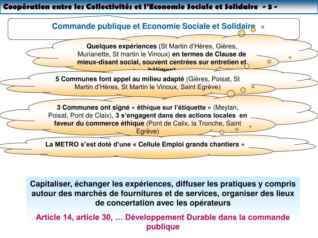 Coopération entre les Collectivités et l'Economie Sociale et Solidaire  - 3 -