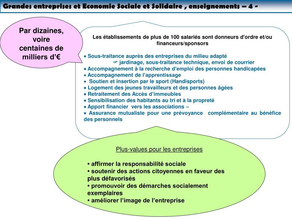 Grandes entreprises et Economie Sociale et Solidaire , enseignements – 4 -