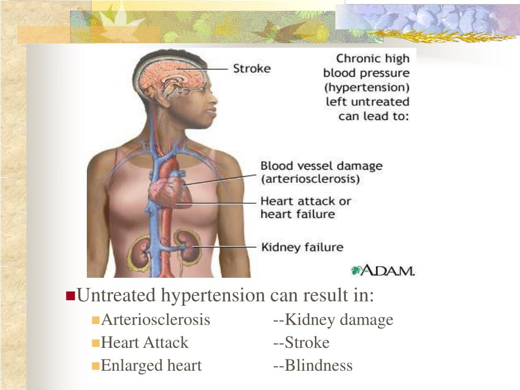 Untreated hypertension can result in: