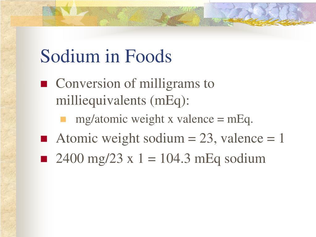 Sodium in Foods