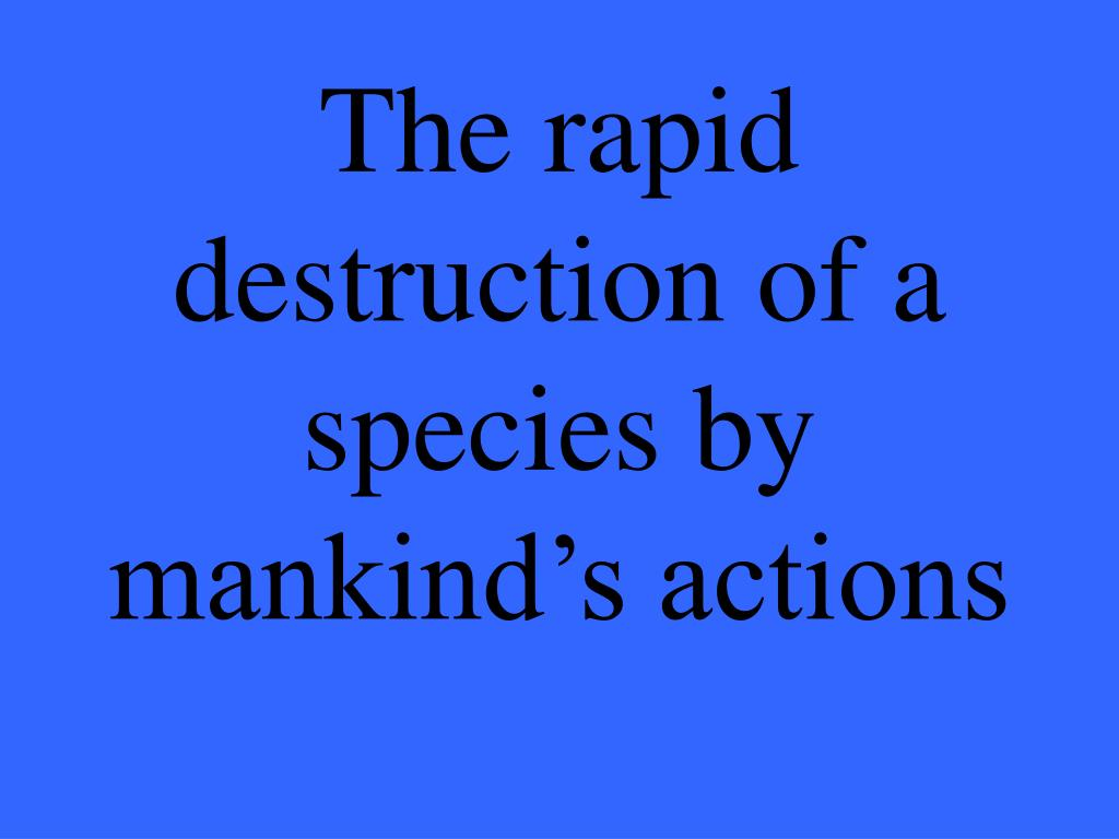 The rapid destruction of a species by mankind's actions