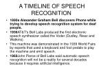 a timeline of speech recognition