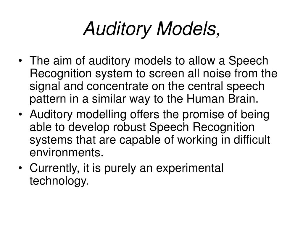 Auditory Models,
