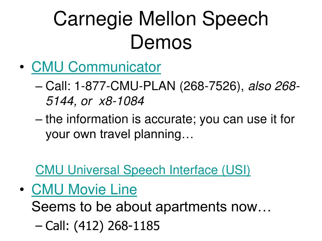 Carnegie Mellon Speech Demos
