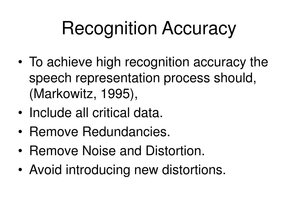 Recognition Accuracy