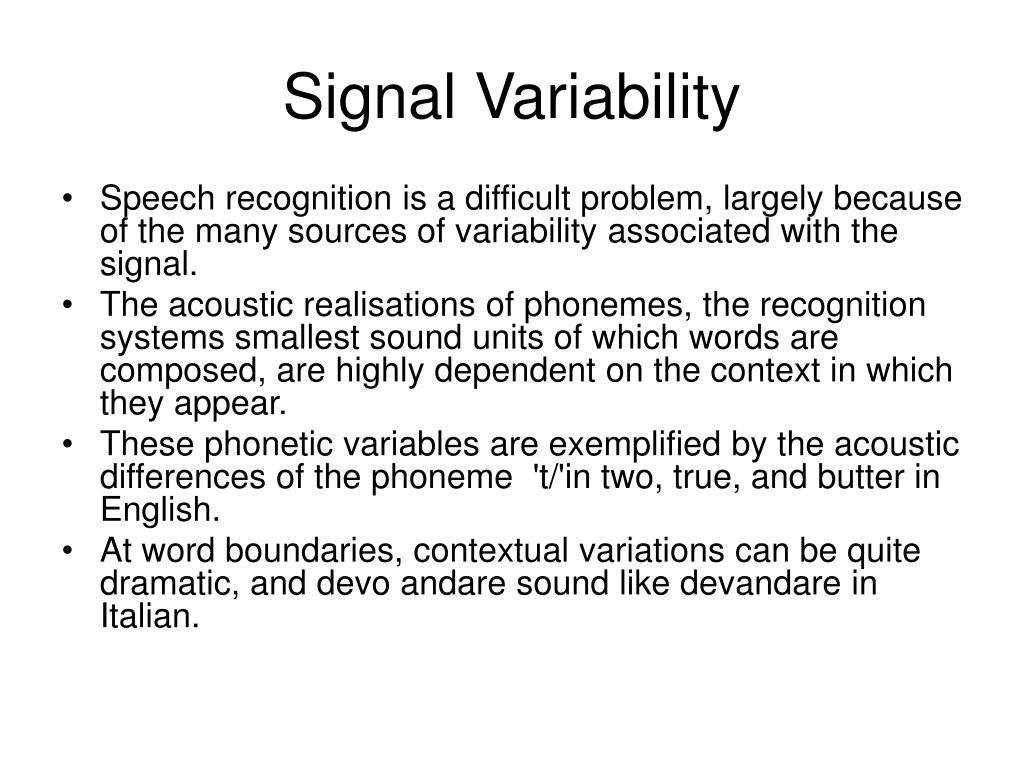 Signal Variability