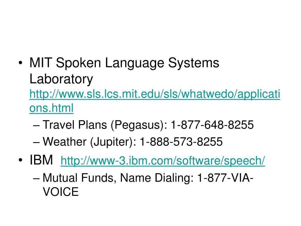 MIT Spoken Language Systems Laboratory