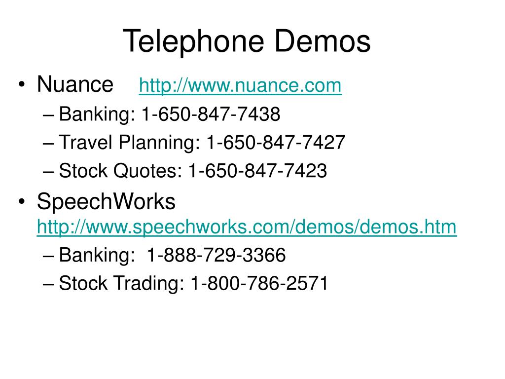 Telephone Demos