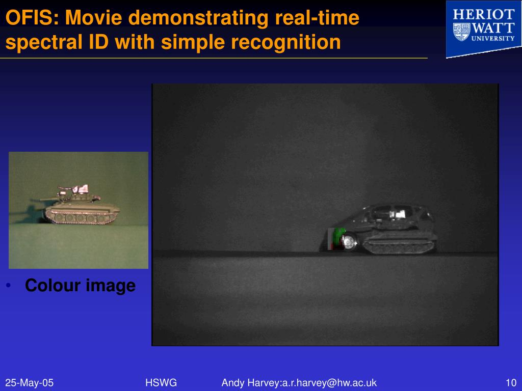 OFIS: Movie demonstrating real-time spectral ID with simple recognition