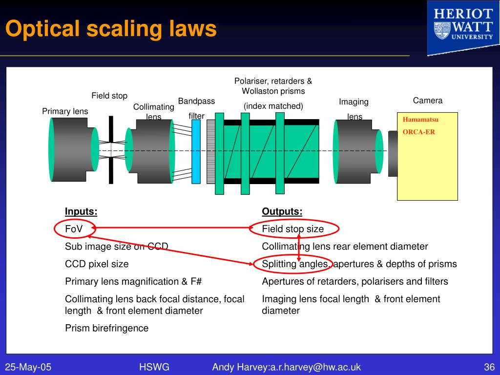 Optical scaling laws