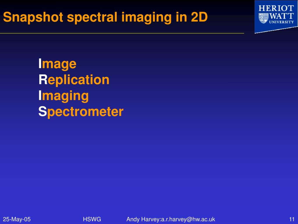 Snapshot spectral imaging in 2D