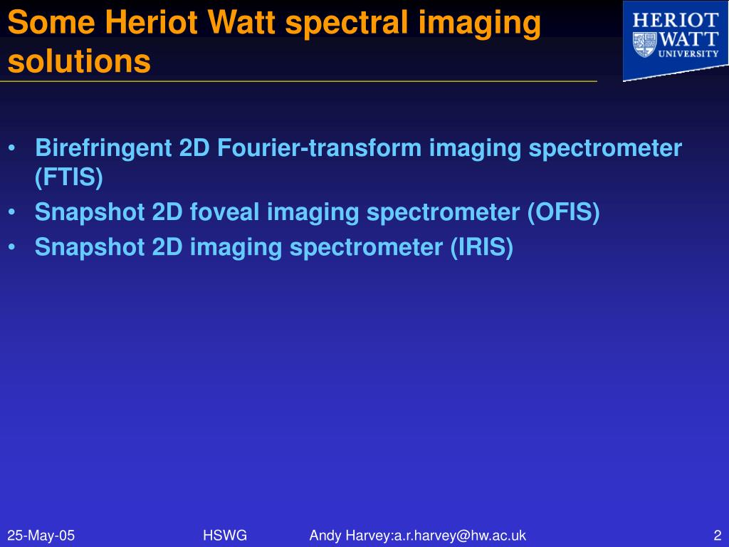 Some Heriot Watt spectral imaging solutions