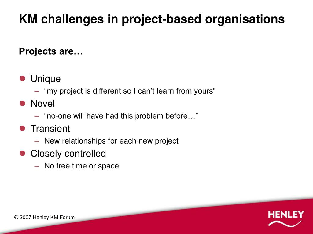 KM challenges in project-based organisations