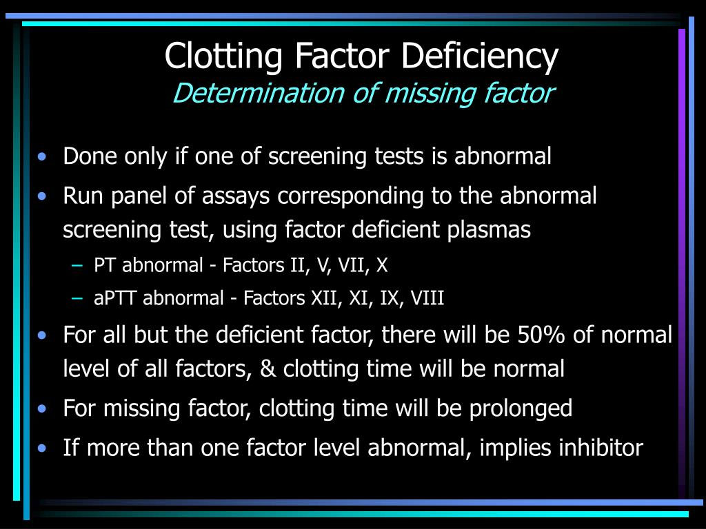 Clotting Factor Deficiency