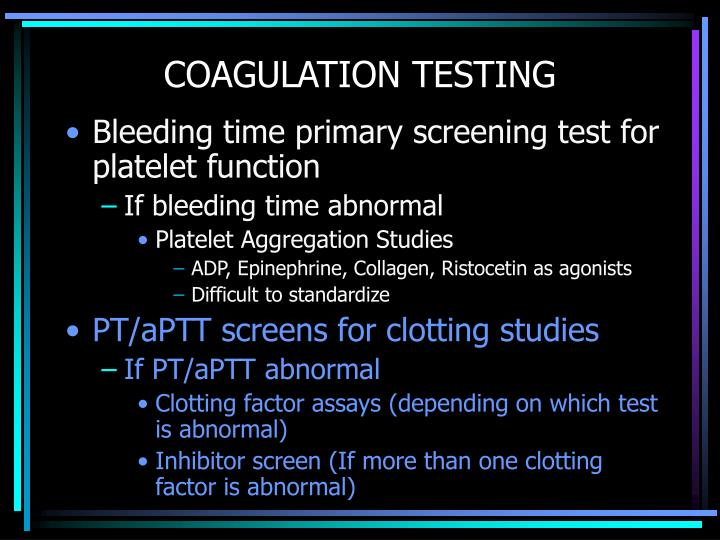 Coagulation testing
