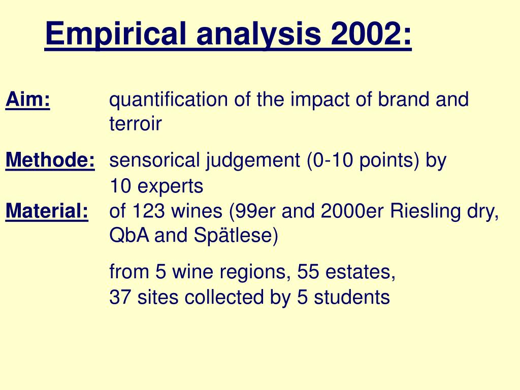 Empirical analysis 2002: