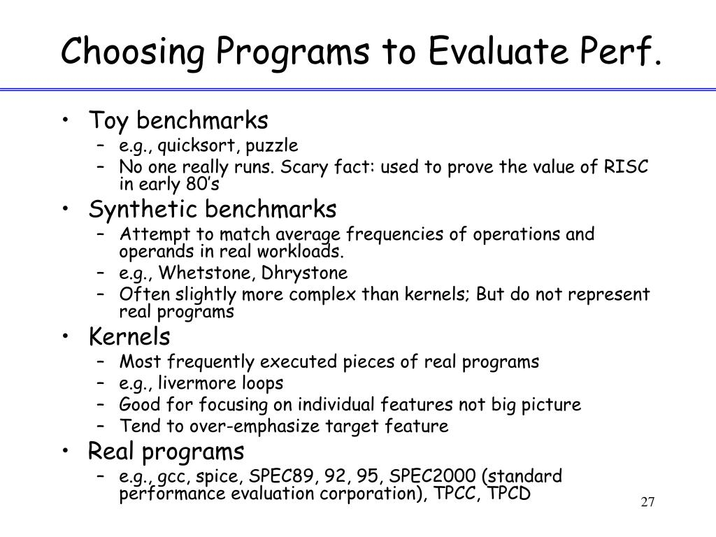 Choosing Programs to Evaluate Perf.