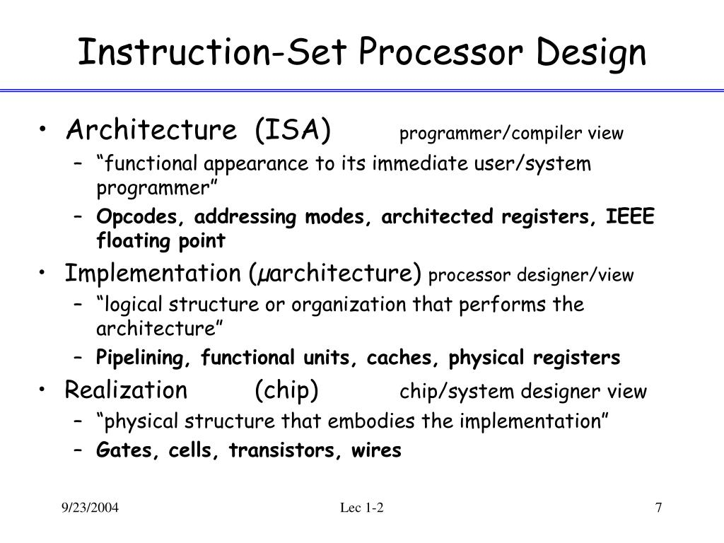 Instruction-Set Processor Design