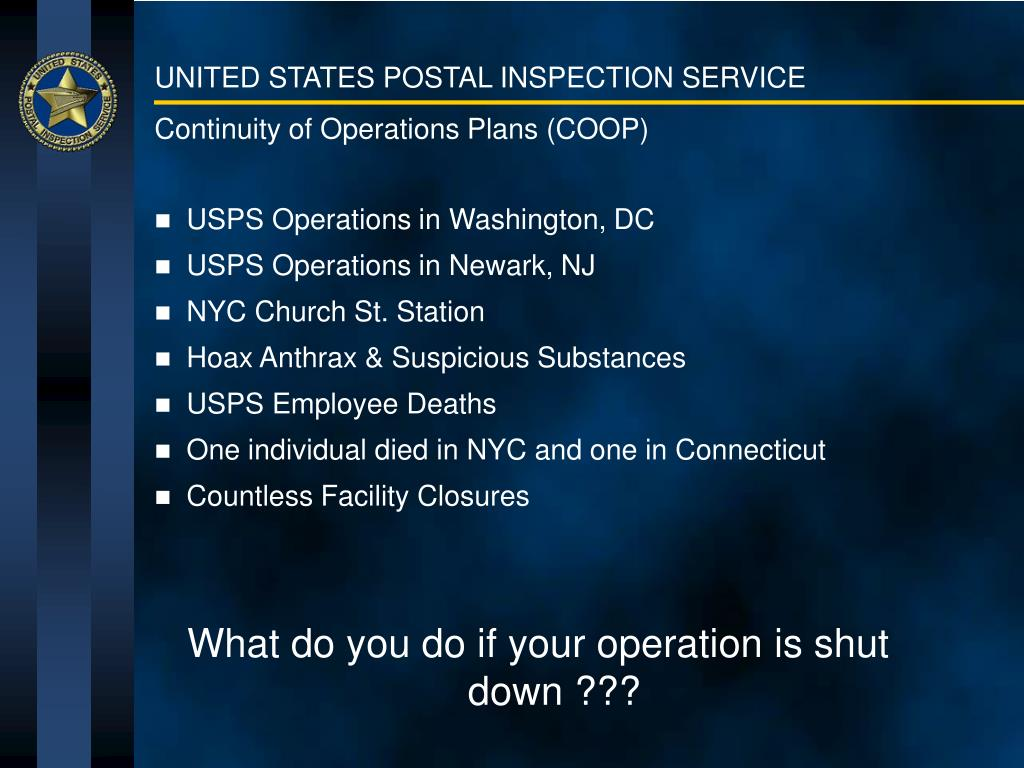 Continuity of Operations Plans (COOP)