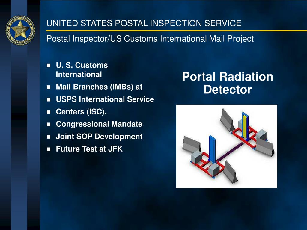 Postal Inspector/US Customs International Mail Project