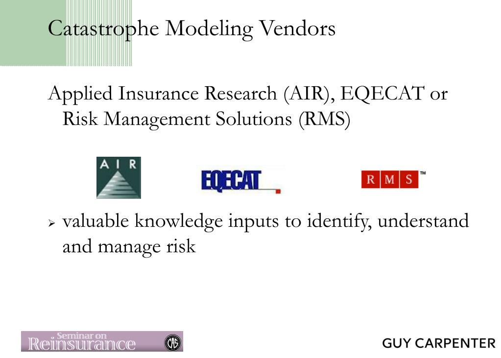Catastrophe Modeling Vendors