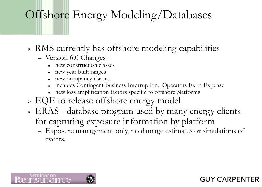 Offshore Energy Modeling/Databases