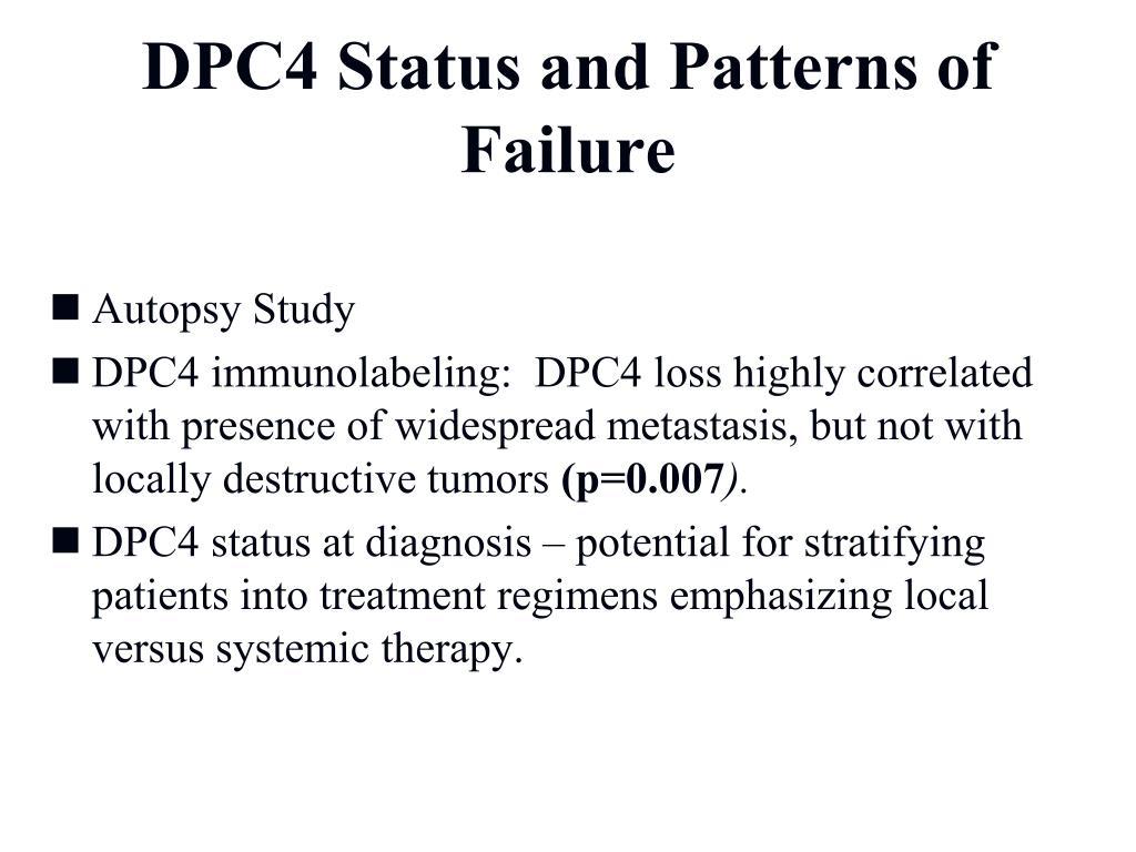 DPC4 Status and Patterns of  Failure