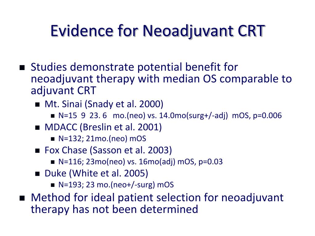 Evidence for Neoadjuvant CRT