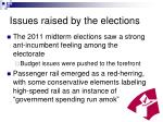 issues raised by the elections