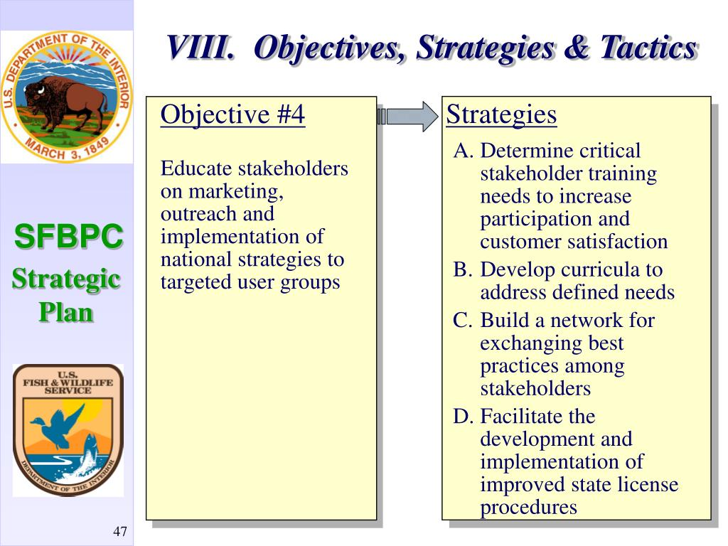 VIII.  Objectives, Strategies & Tactics