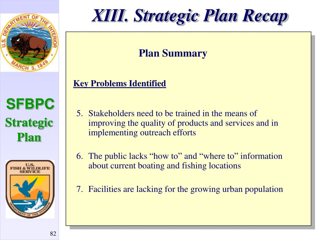 XIII. Strategic Plan Recap