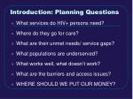 introduction planning questions