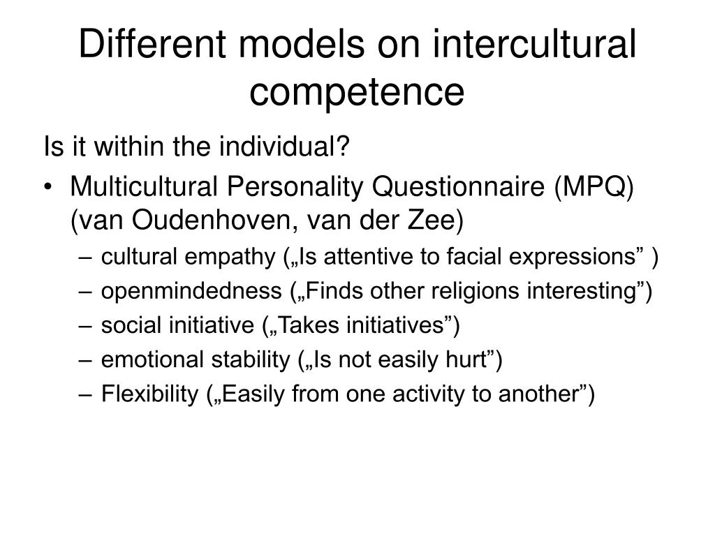 Different models on intercultural competence
