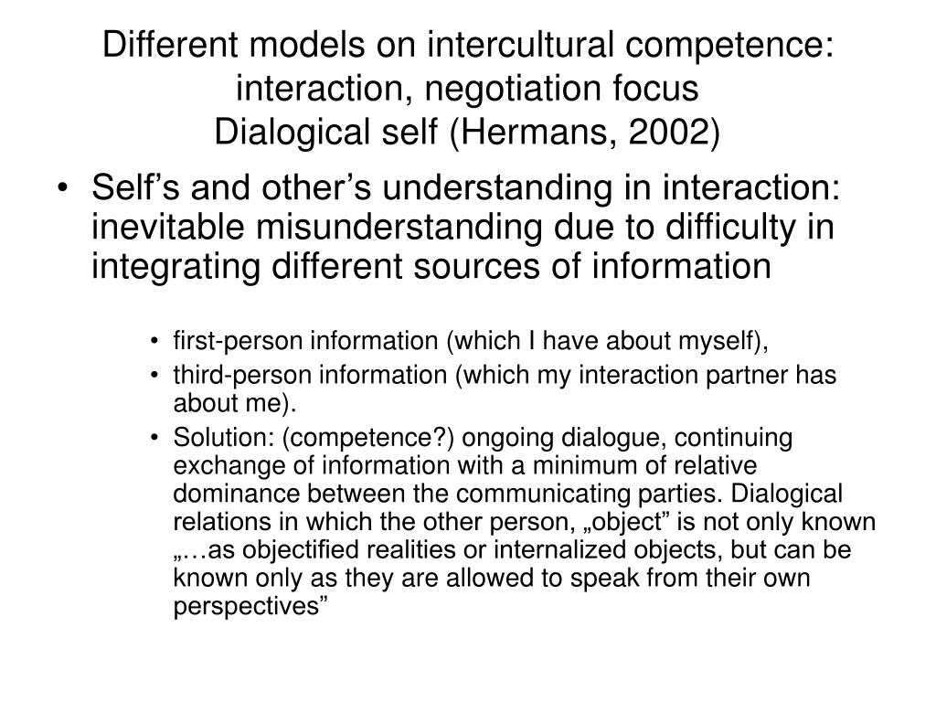 Different models on intercultural competence: interaction, negotiation focus