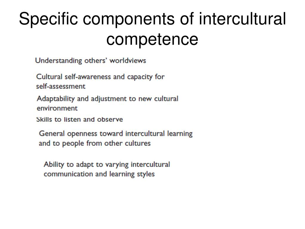 Specific components of intercultural competence