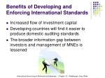 benefits of developing and enforcing international standards22