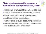 risks in determining the scope of a multinational audit hermanson 1993