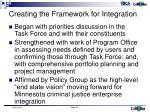 creating the framework for integration