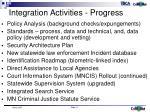 integration activities progress