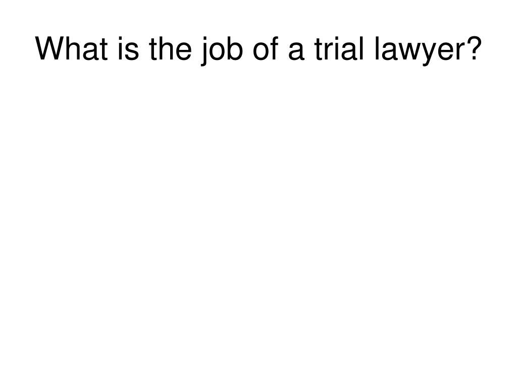 What is the job of a trial lawyer?