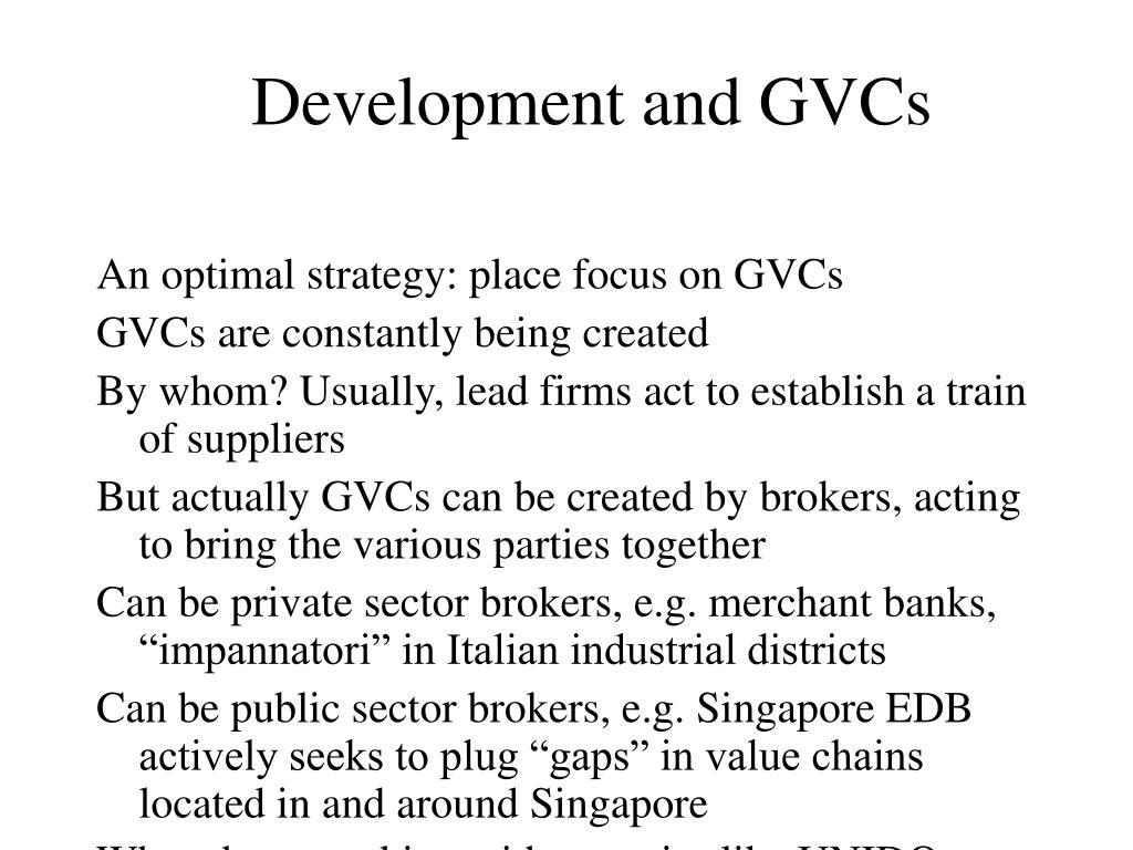 Development and GVCs