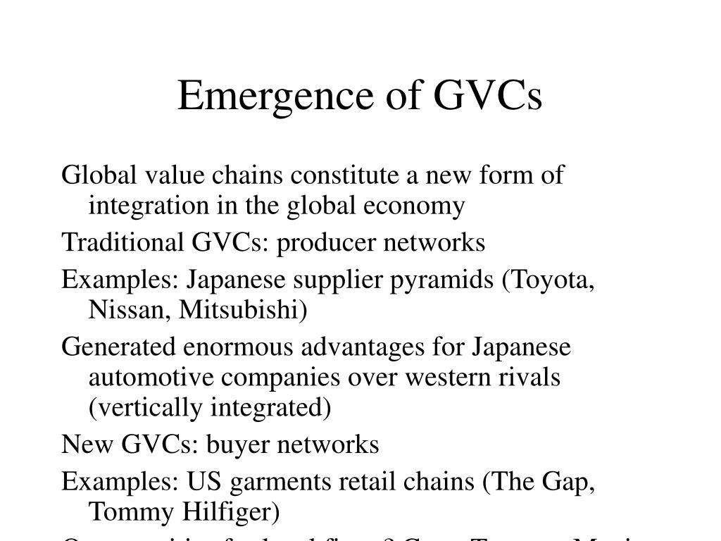 Emergence of GVCs