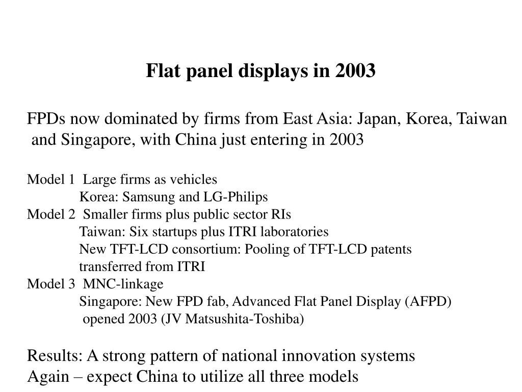 Flat panel displays in 2003
