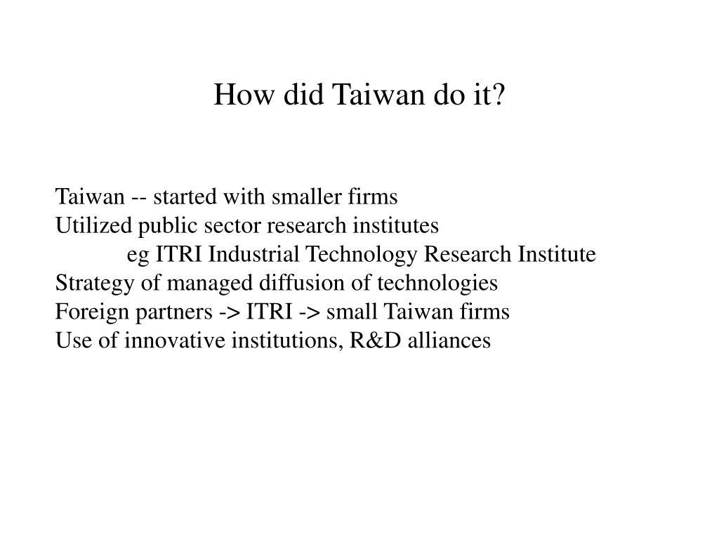 How did Taiwan do it?