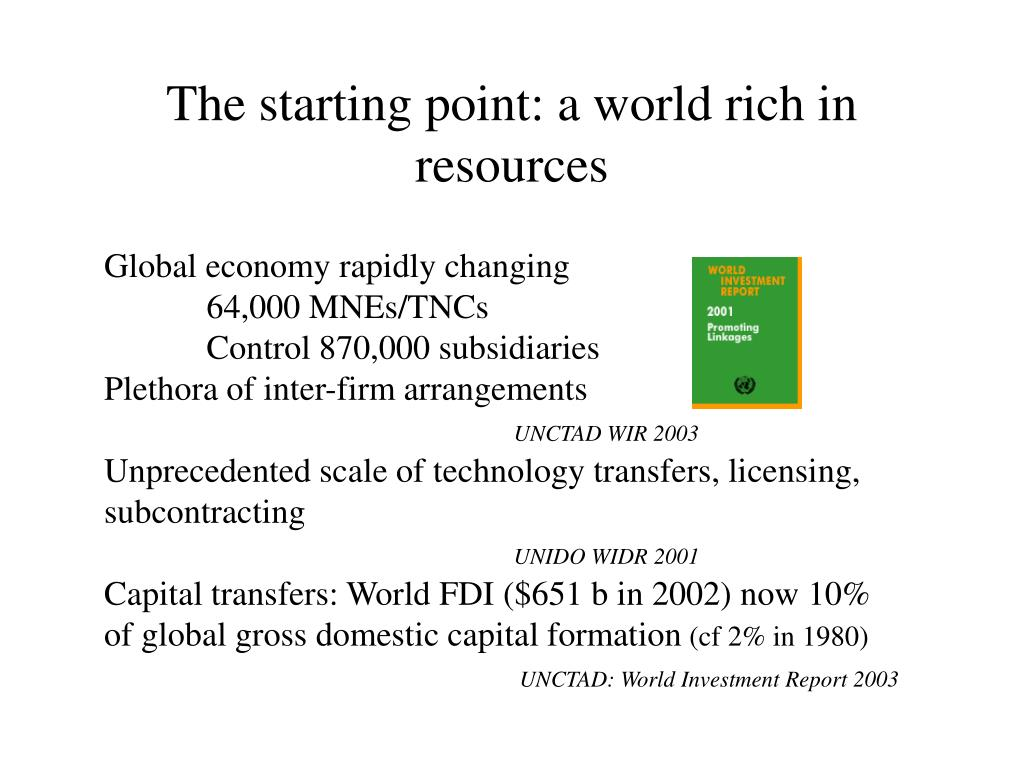 The starting point: a world rich in resources