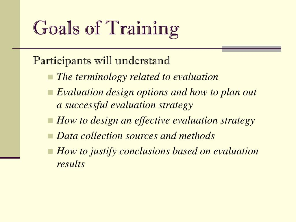 pretests of training plan evaluation strategies As assessment for learning, formative assessment practices provide students  with  to increase students' learning, non-graded quizzes, pretests, minute  papers, exit  learning, richard j stiggins lists 7 strategies of assessment for  learning  they may be used as part of a building's professional development  plan for.